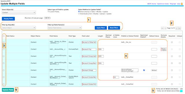 custom fields in tabular format
