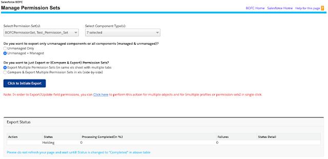 click to initiate export